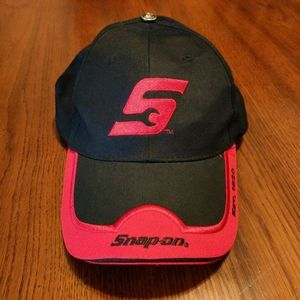 Snap-on tools hat, black with red trim.